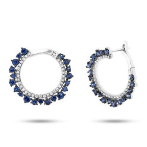Unique 14K White Gold Blue Sapphire Diamond Twist Drop Earrings Huggie Cuff Hoop