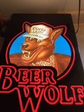 Vintage 1980s Coors Light Beer Wolf Lighted Bar Pub Sign Man Cave Sign