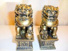 COPPIA Colore Bronzo Cinese Feng Shui foo / FU LION CANI TEMPIO, piccole dimensioni
