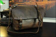 VTG 1942 World War 2 Brown Saddle Leather Messenger Briefcase Laptop Bag Mens