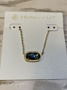 NEW NWT Kendra Scott Elisa Abalone Shell Short Necklace Silver  Tone  MSRP: $60