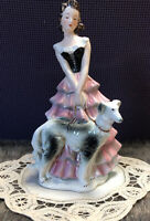 Goebel FF275 Ladies Of Fashion With Russian Borzoi Dog Ceramic Figurine 1959
