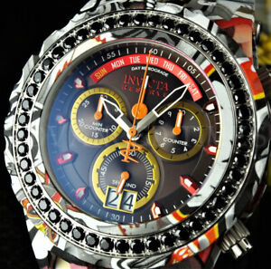 Invicta 52mm Reserve SA Specialty 4.14ctw BLACK SPINEL Hydroplate Graffiti Watch