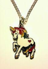 Kawaii unicorn rainbow heart pendant chain necklace 18 inch