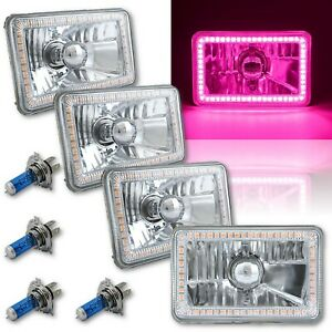 "4X6"" Pink SMD LED Halo Angel Eye Headlight Headlamp Halogen Light Bulbs Set of 4"