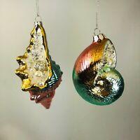 Kurt Adler Ornament Encrusted Pearl Seashell Lighting Whelk Shark Eye Christmas