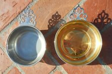 Porringer Bowl Dish Oneida Sheridan Set 2 Pierced Decorative Handles Silverplate