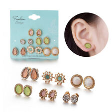 Round Stud Earring Set Opal Stone Flower  Cubic Zirconia Colorful Crystal Gems