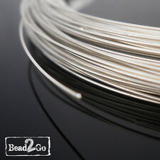 1m 26ga (0.4mm) Sterling Silver 925 Round Beading Wire Dead Soft - 92.5% Pure