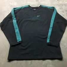 NIKE EMBROIDERED SWOOSH XL Sweatshirt VTG Y2K 90s Center Mini Logo Teal Spellout