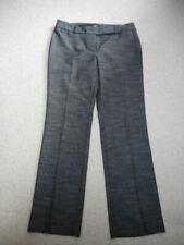 "Womens Pants-ANN TAYLOR-Black/gray tweedy ""modern"" straight leg flat front-6P"