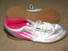 VGC Adidas F50 F-50 white+pink+silver indoor soccer shoes -  mens 10, womens 11