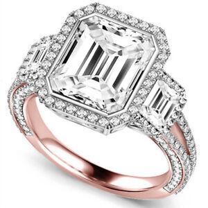 Bridal Emerald Cut 4.50 Ct Solid 14K Rose Gold Diamond Wedding Ring Size 6 7 8.5