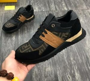 Men's Low Top Sports Punk Letter Sneakers running Boots Athletic Shoes Black
