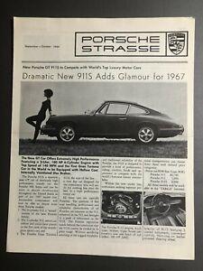 "1966 Porsche Strasse ""Dramatic New 911S"" 9/10 1966 Newsletter Folder RARE L@@K"