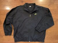 Vintage Nike Gray Tag 90s Windbreaker Track Cotton Poly Jacket Sz XL Neon Logo