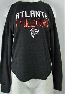 Atlanta Falcons NFL Women's Gray Long Sleeve Pull-Over Crew-Neck Sweatshirt