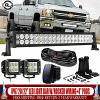 "Chevy Silverado 1500 2500 3500 Front Bumper 20/22"" LED Light Bar w/Rocker Wiring"