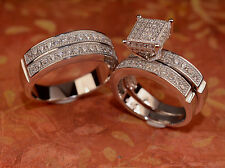 White Gold Finish Engagement Ring And Multi Wedding Bands Set His Hers L7 M 10