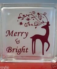 """Merry and Bright Christmas Decal Sticker for 8"""" Glass Block DIY Crafts"""