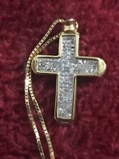 Yellow Gold Princess Cut Invisible Set Cross With Box Chain