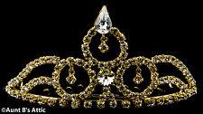 Tiara Gold Metal & Rhinestone Mini Tiara Princess, Queen,Or Debutante Headpiece