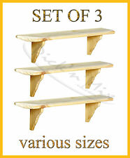 Set Of 3 Core Products Natural Wood Wooden Shelves Wall mounted Shelf Kit Unit