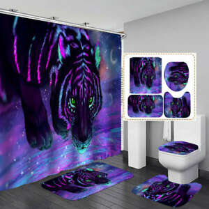 Purple Tiger Art Shower Curtain Bath Mat Toilet Cover Rug Bathroom Decor
