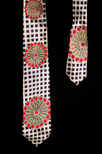 """VINTAGE 1940'S-1950'S DEADSTOCK RAYON RED & BLUE SATIN ON SATIN TIE 3"""" W 54"""" L"""