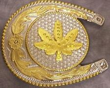 OVERSIZED 2 tone metal belt buckle Horseshoe and Leaf