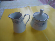CROWN FINE CHINA HARMONY PATTERN CREAMER AND SUGAR BOWL WITH LID WHITE/BLUE