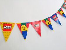 1x LEGO Block Legoman Banner Bunting. Party SUPPLIES Lolly Loot Bag Room Deco