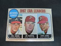1968 TOPPS '67 N.L. ERA LEADERS NIEKRO, BUNNING, SHORT  CARD #7 VG