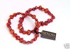 Honora 8.0mm Baroque Keshi Cultured Cherry Pearl Stretch Bracelet Set of 2