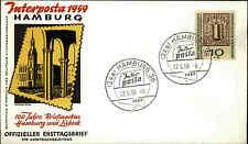 1959 Ersttag FDC Briefmarke Bund 10+5 Pfenning Interposta HAMBURG Sonderstempel