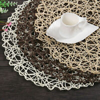 Rural Table Hollow Mat Round Woven Dining Placemat Pads Dinnerware Cup Coaster