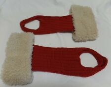 VINTAGE RED WOOL KNIT & SYNTHETIC SHEARLING BOOT LEG WARMERS LEGGINGS