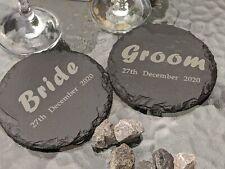 Bride & Groom Slate Table Coasters