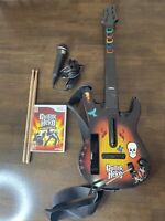 Nintendo Wii Guitar Hero Bundle 1 Red Octane Starburst Guitar Microphone Game!!
