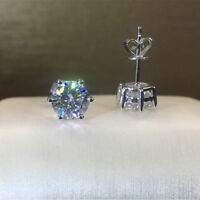 1.75Ctw Round-Cut Moissanite Solitaire Stud Earrings 14K White Gold Finish