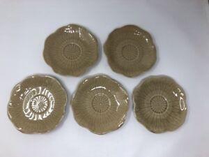 "5 Metlox Lotus Beige Tan 6 1/2"" 6.5"" Dessert Bread Cocktail Plates Poppytrail"