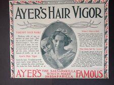 ANTIQUE 1898 AD (1800-13)~AYER'S HAIR VIGOR TONIC FOR HAIR HEALTH