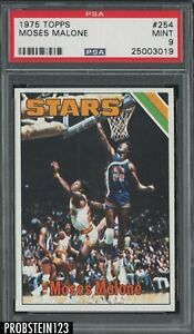 1975 Topps Basketball #254 Moses Malone Utah Stars RC Rookie HOF PSA 9 MINT