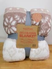 Berkshire Printed Sherpa Blanket with Velvet Soft Reverse-Twin-Tan-New