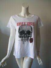 Guns N Roses White Flower Skull Printed T-Shirt Top Juniors XL or Women's L