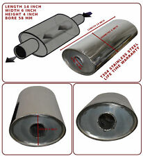 "UNIVERSAL T304 STAINLESS STEEL EXHAUST PERFORMANCE SILENCER 14""x6""x4""x58MM-KEE"