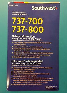2016 SOUTHWEST AIRLINES SAFETY CARD--737-700/800
