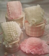 Knitting Crochet Pattern Babies Clothes BONNETS HAT 0 - 2 Years in DK 4 PLY