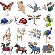 Animal Owl Butterfly Horse Elephant Pearl Crystal Brooch Pin Women Men Jewelry