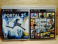 PS3 Video Game Lot Portal 2 & Grand Theft Auto V GTA 5 Playstation 3 Complete